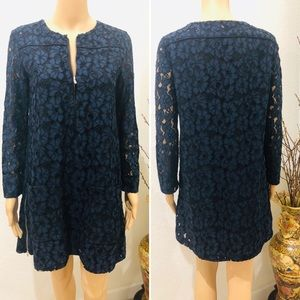 Maje navy lace mini dress 1